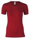 Racine/ENGEL - Sous-pull femme manches courtes  en laine/soie Rouge rubis