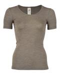 ENGEL - Sous-pull femme manches courtes  en laine/soie  Noisette