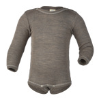 Débardeurs, T-shirts, pulls, gilets, multicapes et bodys/ENGEL Nouveauté - Body bébé en laine et soie Noix (50 au 92)