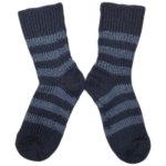 Hirsch - Chaussettes en pure laine bio rayures Bleu et Marine