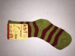 Hirsch - Chaussettes en pure laine bio rayures Vert-Rouge