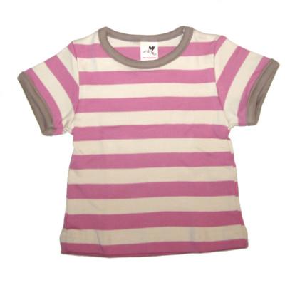 Racine STORCHENKINDER – T-Shirt manches courtes à RAYURES ROSE FRAMBOISE-ECRU en coton bio