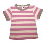 Racine/STORCHENKINDER – T-Shirt manches courtes à RAYURES ROSE FRAMBOISE-ECRU en coton bio