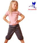 Collection STORCHENKINDER ENFANT (tailles 86-140)/PANTACOURT FILLE GRIS-BLEU en velours fin de  coton bio
