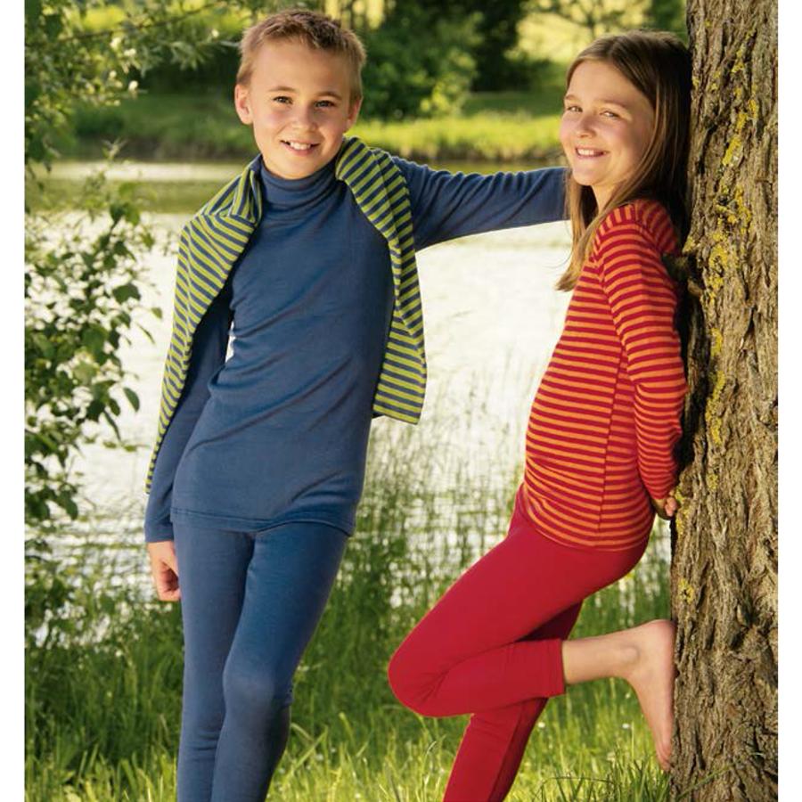 Sous-vêtements SOUS-PULL et LEGGINGS BLEU en Laine/soie (86-152)