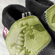 POLOLO SOFT - Chaussons souples en cuir naturel de tannage végétal Chausson Pololo GECKO vert-bleu (18 à 33)