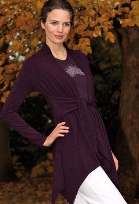T-SHIRT Manches courtes Gilet long ANANDA – AUBERGINE