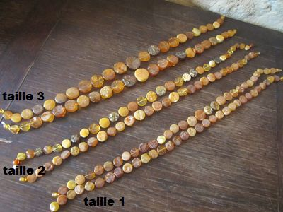 Colliers COLLIER AMBRE boutons naturels bruts