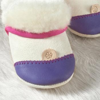 FINS DE SERIES - Chaussons Pololo  en cuir naturel pour toute la famille Chausson Pololo DOUCEUR VIOLET - en peau d'agneau