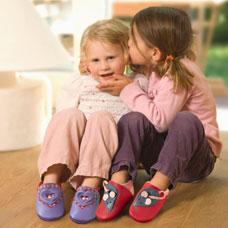 FINS DE SERIES - Chaussons Pololo  en cuir naturel pour toute la famille Chausson Pololo SWEETHEART vichy (18 à 27)
