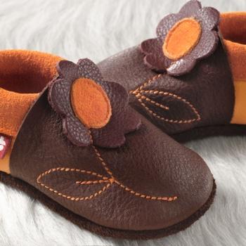 FINS DE SERIES - Chaussons Pololo  en cuir naturel pour toute la famille Chausson Pololo JASMINE Coco – Mangue (18 à 33)
