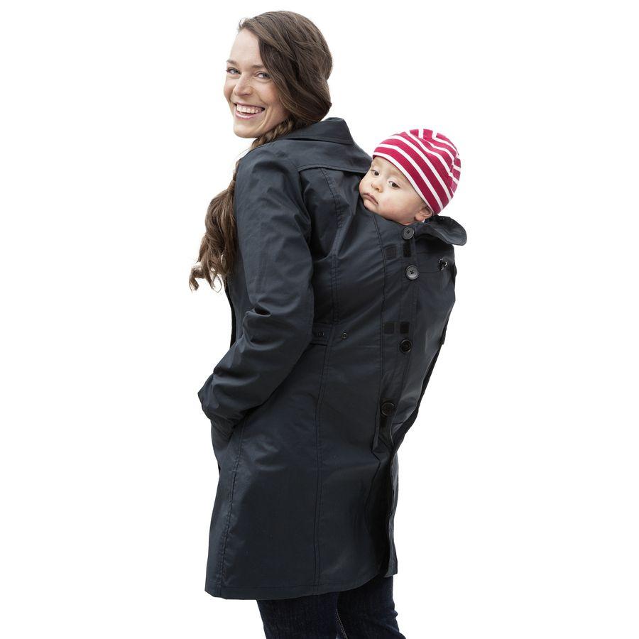 Écharpes STORCHENWIEGE MAMALILA – TRENCHCOAT de grossesse et portage 3 en 1 NOIR-FUCHSIA