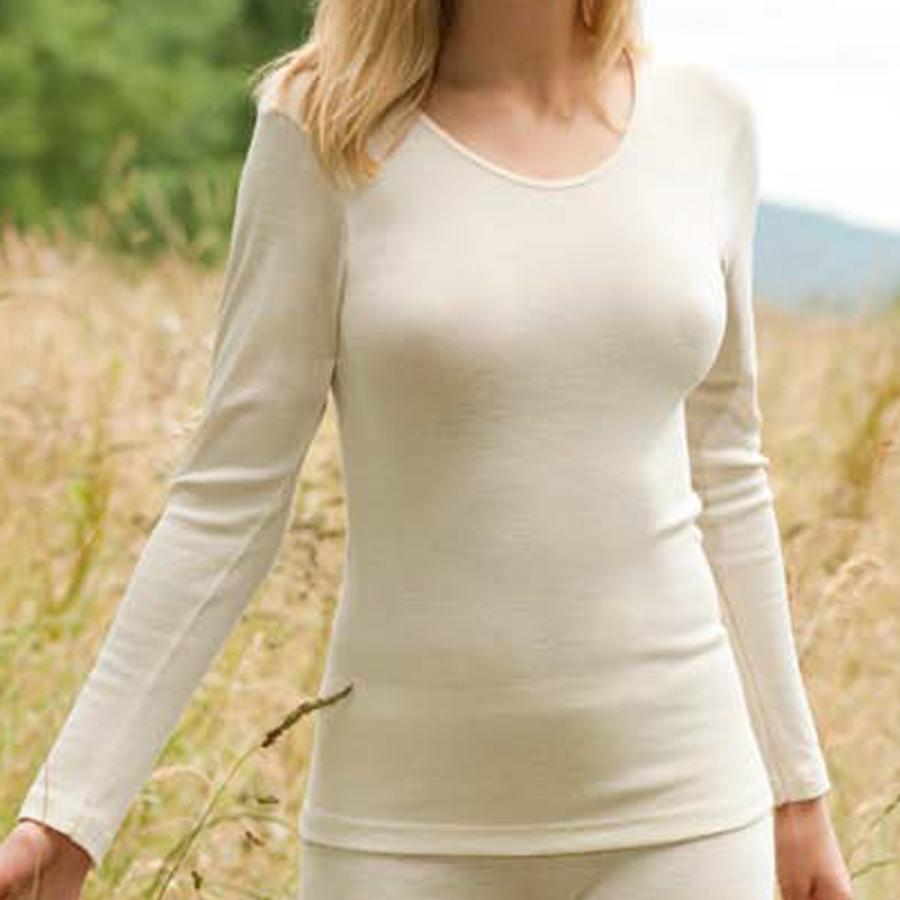 Vêtements et sous-vêtements laine et soie Engel Natur SOUS-PULL en laine/soie FEMME – ECRU