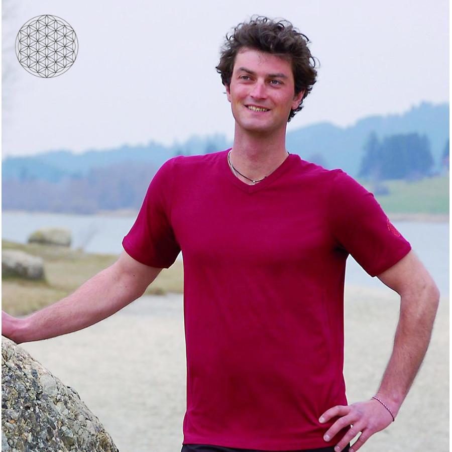 Pour homme T-Shirt col V en bambou manches courtes – ROUGE BORDEAUX