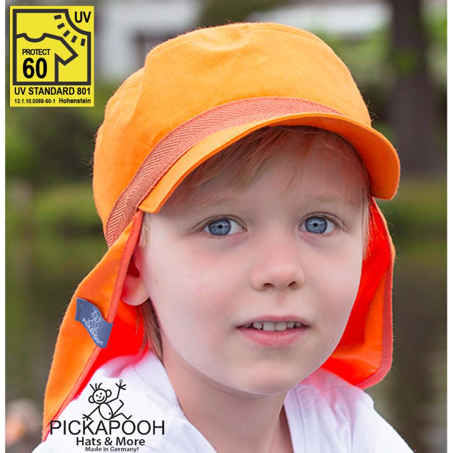 Chapeaux été PICKAPOOH – CASQUETTE DE SOLEIL ENFANT HENRI - ORANGE (UV60)