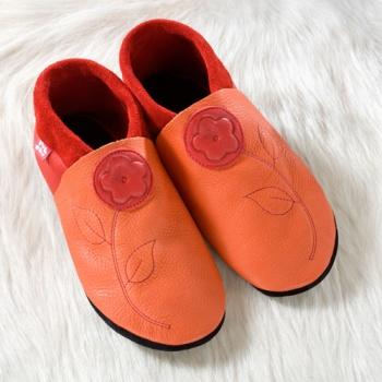 POLOLO SOFT - Chaussons souples en cuir naturel de tannage végétal Chausson Pololo JASMINE orange-rouge (28 à 45)