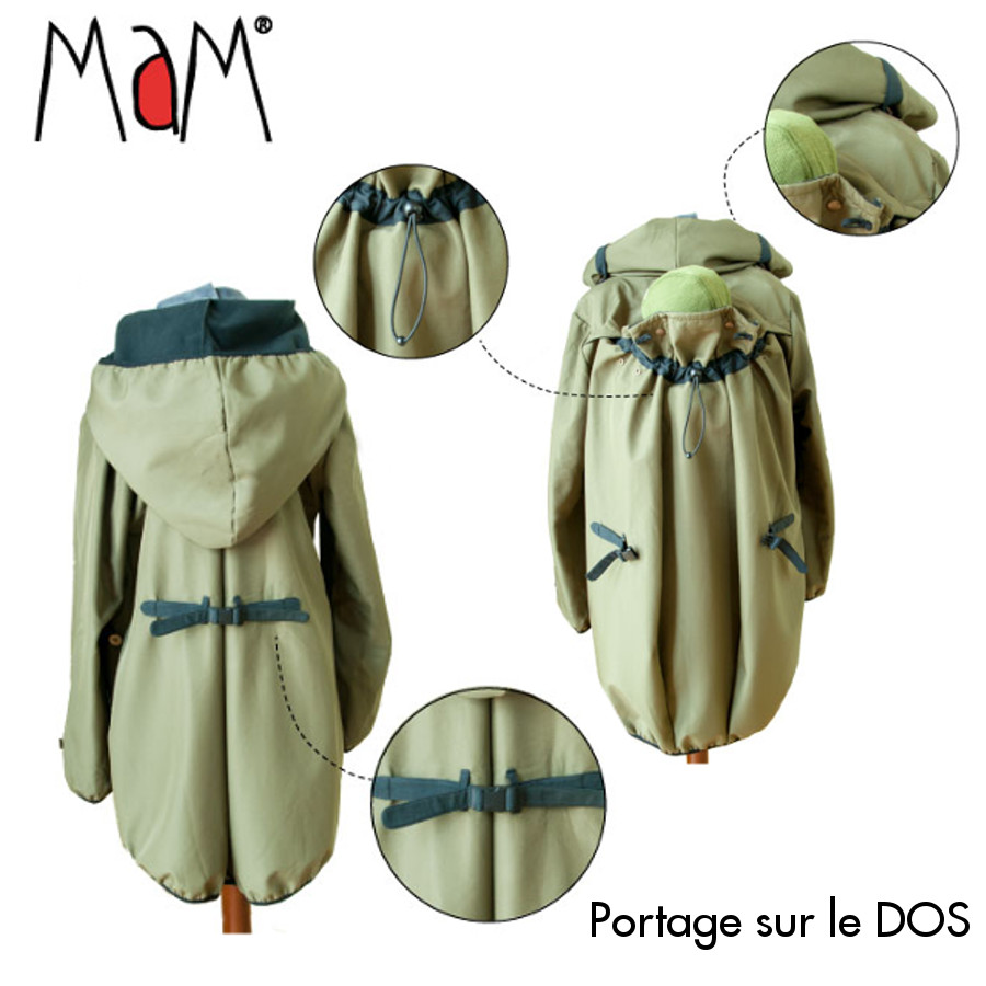 Racine MaM MOTHERHOOD COAT – OLIVINE CRYSTAL – Veste de maternité Portage Ventre/Dos Imperméable