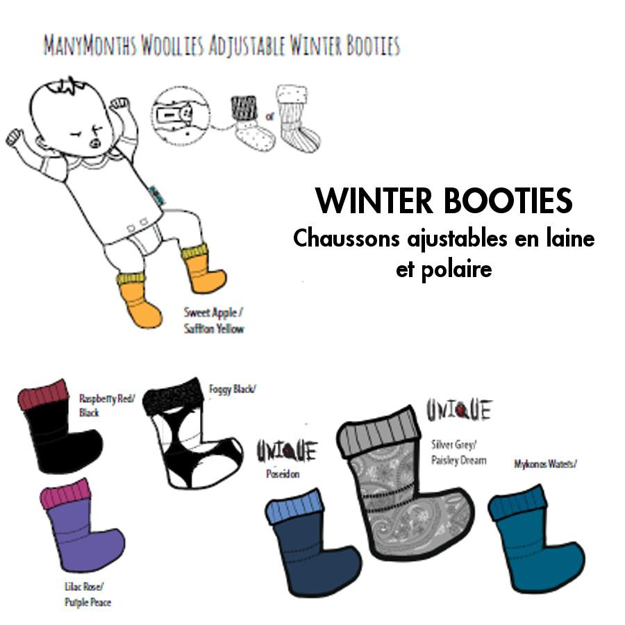 Racine MANYMONTHS – CHAUSSONS DE PORTAGE ajustables en laine/polaire