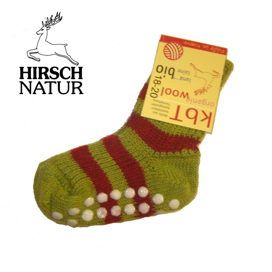Chaussons et Chaussures Chaussettes antidérapantes en laine bio -VERT-ROUGE