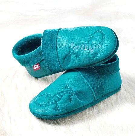 Chaussons en cuir souples, chaussettes, guêtres, jambières Chausson Pololo GECKO turquoise (34 à 41)