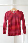 Sous-vêtements ENGEL – SOUS-PULL Cerise/violet manches longues RAYURES  en laine/soie (86-152)