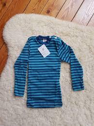 SOUS-VÊTEMENTS pour bébés et enfants ENGEL – SOUS-PULL Océan/Turquoise manches longues RAYURES  en laine/soie (86-152)