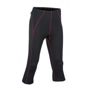 Pantalons Leggings 3/4 sport femme noir coutures bordeaux