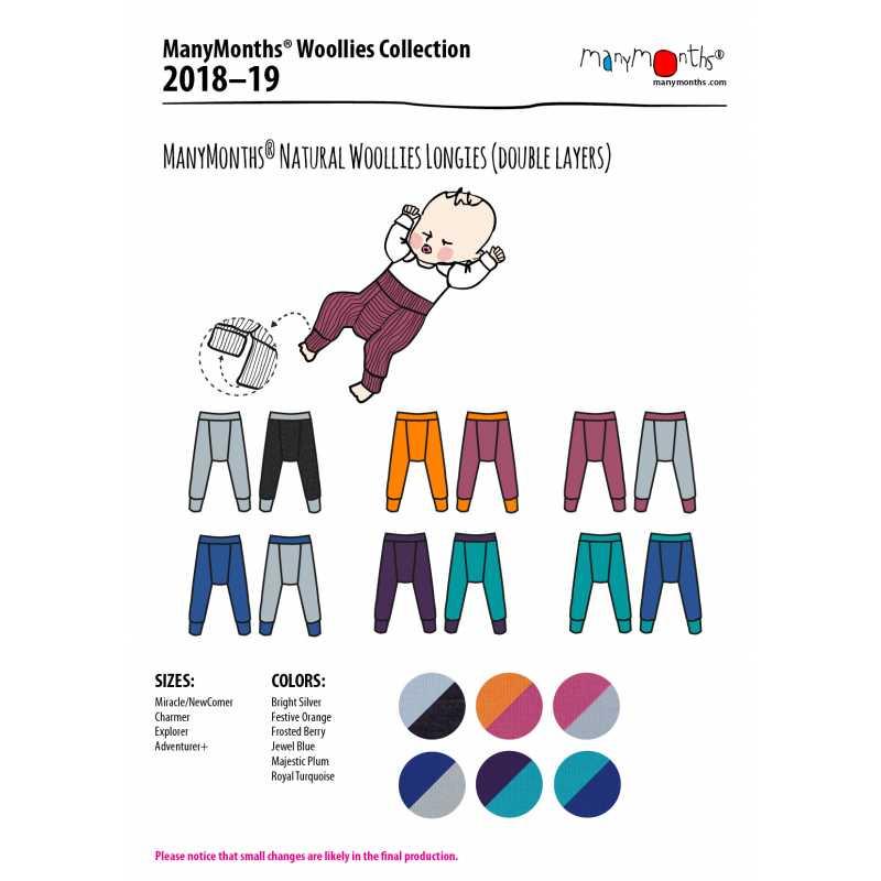 Laine Bio 2018-2019 MANYMONTHS 2018/19 – LONGIES REVERSIBLE -pantanlon bébé en pure laine mérinos