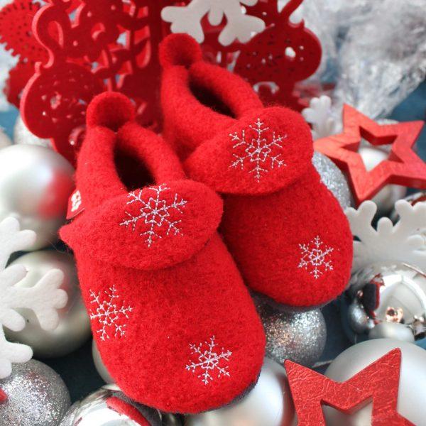 Chaussons et Chaussures Chaussons POLOLO NOEL 2018 en laine Rouge/Flocons blanc (20/21-28/29) + sac de transport offert