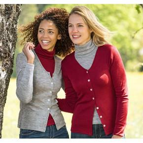 Vêtements et sous-vêtements laine et soie Engel Natur ENGEL 2019 - NOUVEAU CARDIGAN FEMME LAINE ET SOIE ROUGE-RUBIS