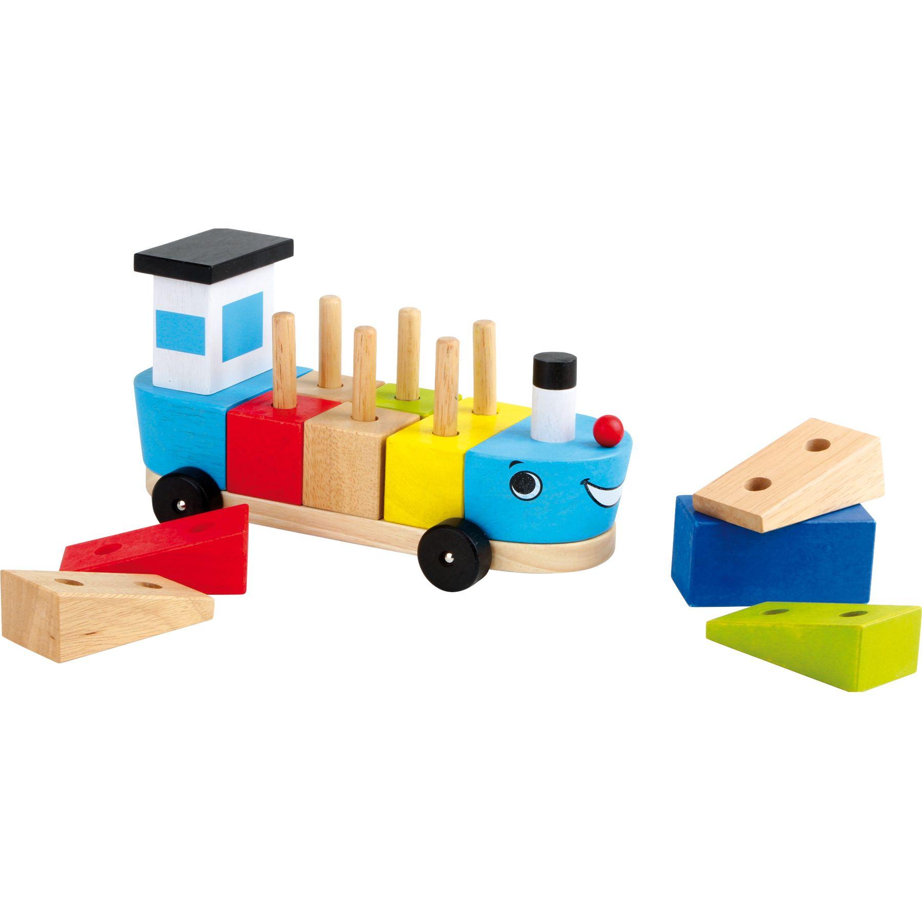 Jeux, Jouets Lelgler - Small foot Bateau avec cubes en bois à empiler
