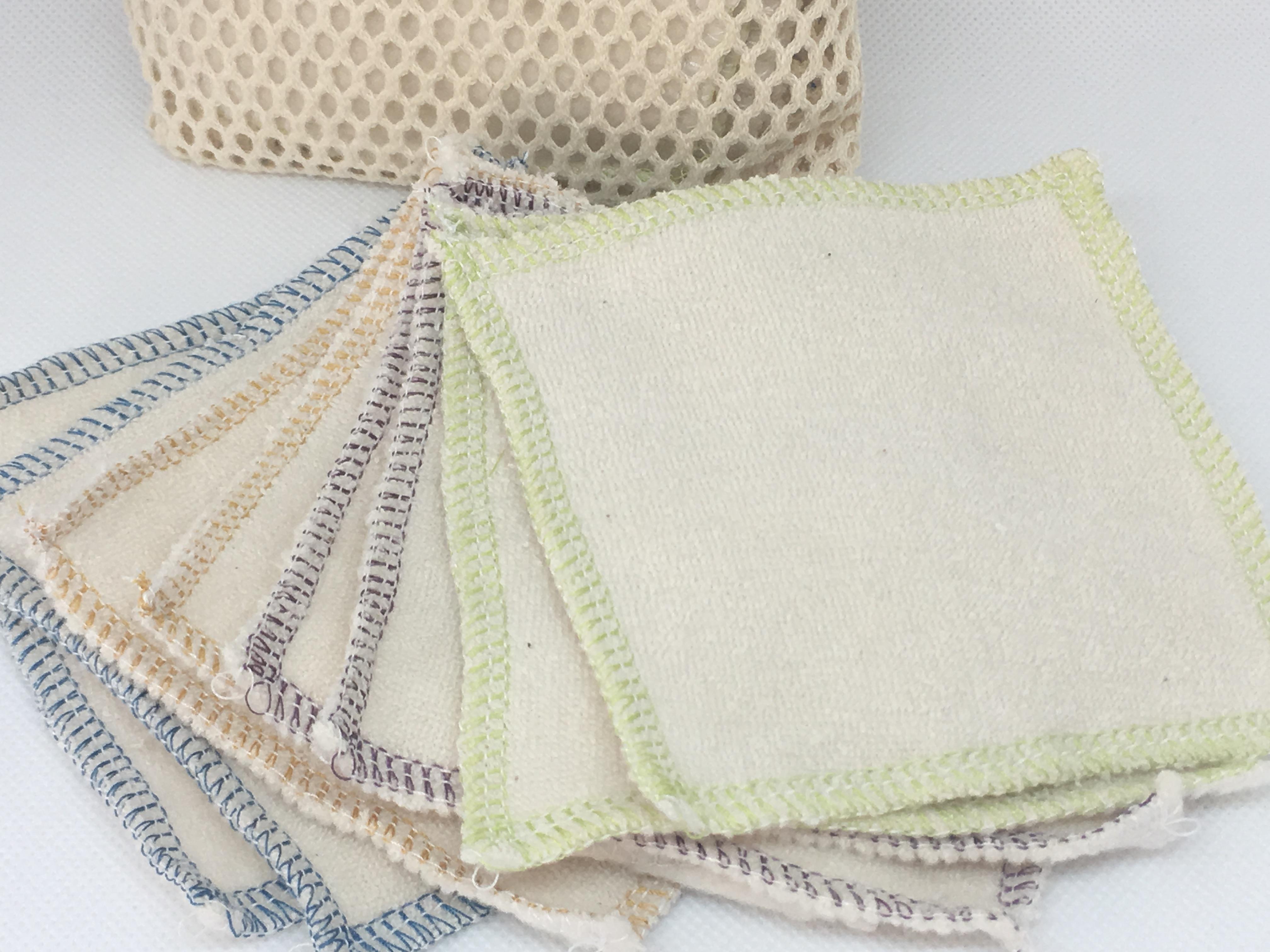 Mam EcoFit, Lunacopine, coussinets d'allaitement et carrés démaquillants Carrés démaquillants (bi-face) lavables en coton bio