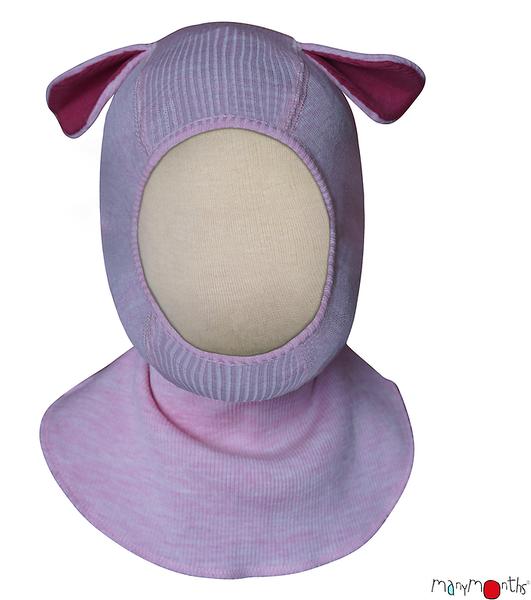 Coup de coeur Manymonths 2021-22 - Bonnet éléphant (cagoule) Puppy en 100% laine mérinos