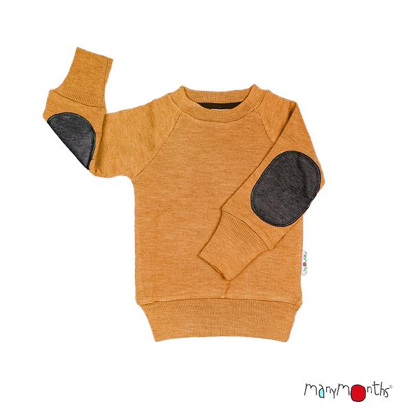 Débardeurs, T-shirts, pulls, gilets, multicapes et bodys Manymonths 2021-22 - Pull en pure laine mérinos avec coudes renforcés