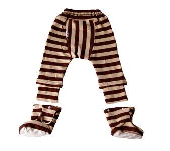 Pantalons et pantacourts MANYMONTHS – PANTALON BEBE AVEC CHAUSSONS amovibles en coton bio