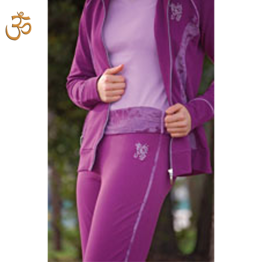 Racine Pantalon de yoga VIOLA – batik et broderie OM