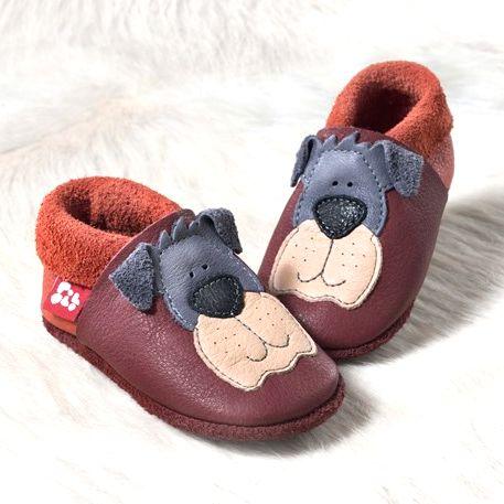 POLOLO SOFT - Chaussons souples en cuir naturel de tannage végétal pour bébés et bambins (16 à 27) NOUVEAU – Chausson Pololo EDDY LE CHIEN – chianti (18 à 27)