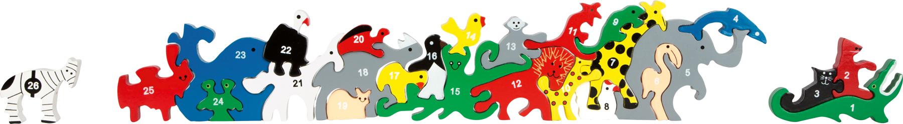 Racine Legler 2020 - Puzzle 3D Animaux lettres et nombres en bois