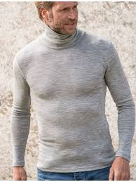 Coup de coeur ENGEL 2020 - Sous-pull col roulé en laine et soie homme Gris chiné ou Noir