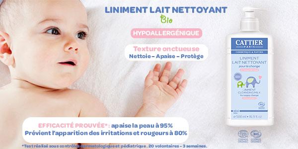 Soins et bien être bébé CATTIER - Liniment BIO 500 ml (lait nettoyant bio)