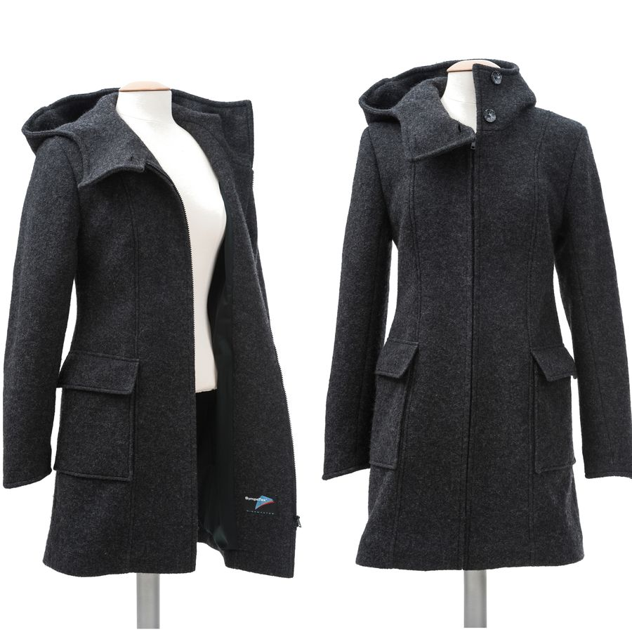 Vestes et manteaux MAMALILA casual MAMALILA MANTEAU de grossesse et portage en LAINE – ANTHRACITE empiècements inclus