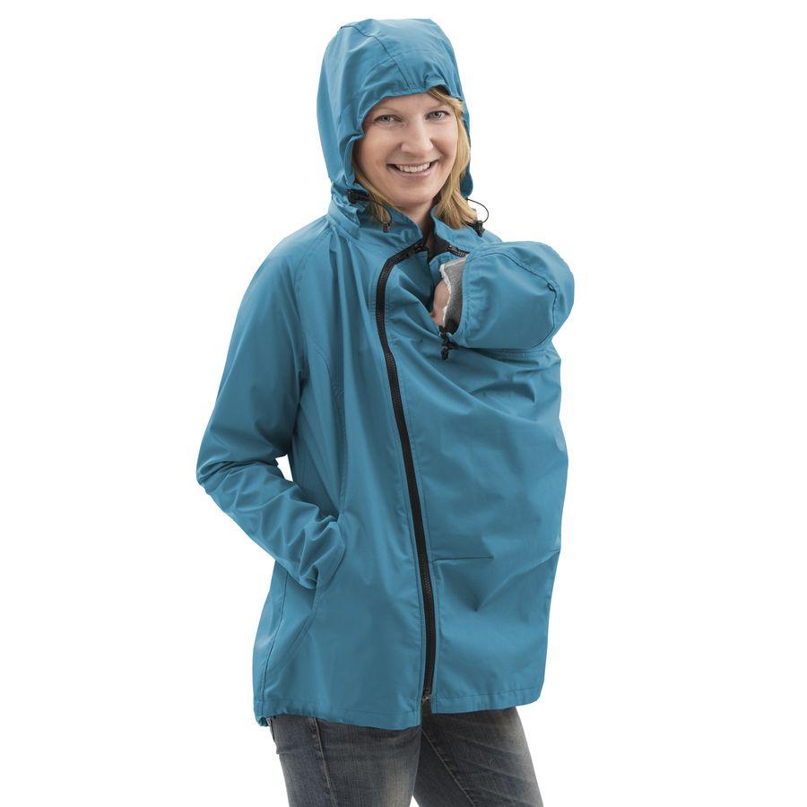 Vestes et manteaux MAMALILA outdoor MAMALILA - Veste de grossesse et portage été SYMPATEX – TURQUOISE fermeture eclair noir visible