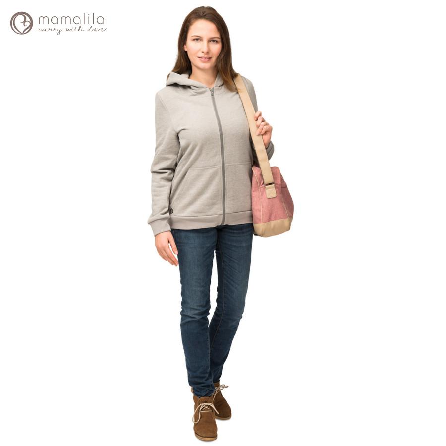 Racine MAMALILA - GILET ZIPPÉ GRIS de grossesse et portage en coton biologique