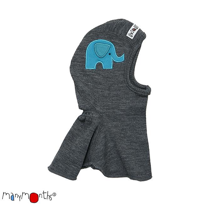 Laine 100% mérinos Ancienne Collection MANYMONTHS -CAGOULE «ELEPHANT» en pure laine mérinos avec broderie éléphant