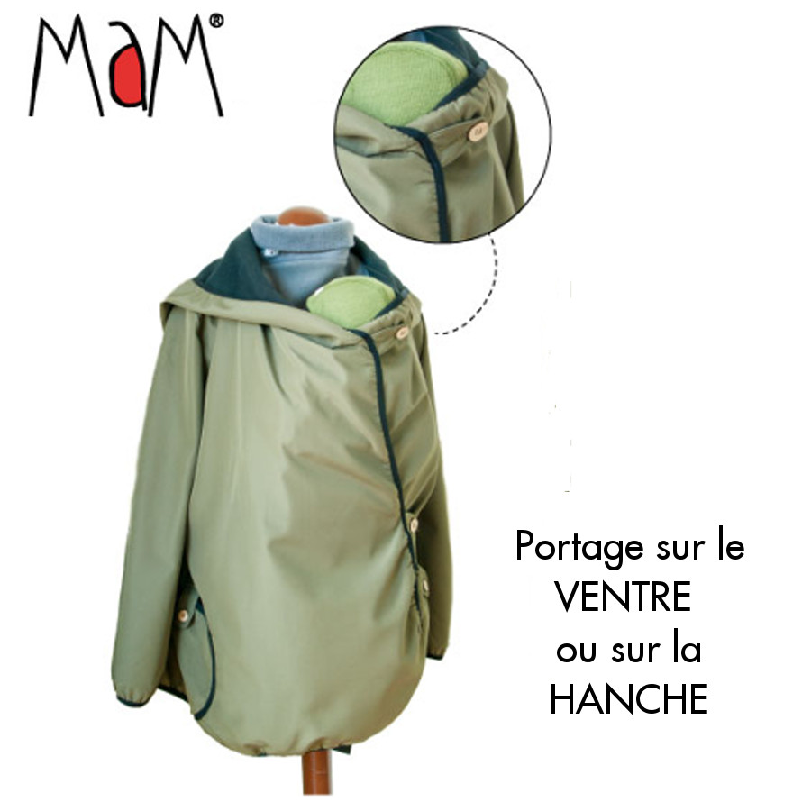 Racine MaM MOTHERHOOD COAT – SILVER STRIPE – Veste de maternité Portage Ventre/Dos Polaire Imperméable