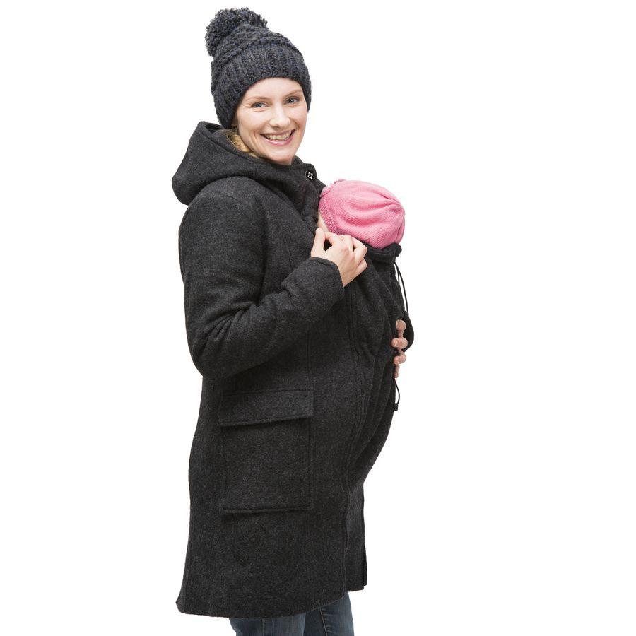 Vêtement de portage et de grossesse MAMALILA MANTEAU de grossesse et portage en LAINE – ANTHRACITE empiècements inclus