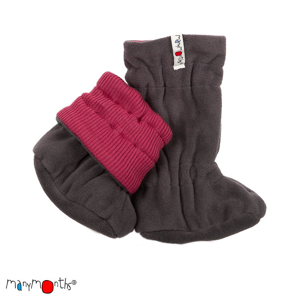 Vêtement bébé-enfant MANYMONTHS 2018/19 – CHAUSSONS DE PORTAGE hiver ajustables et reversibles en laine/polaire