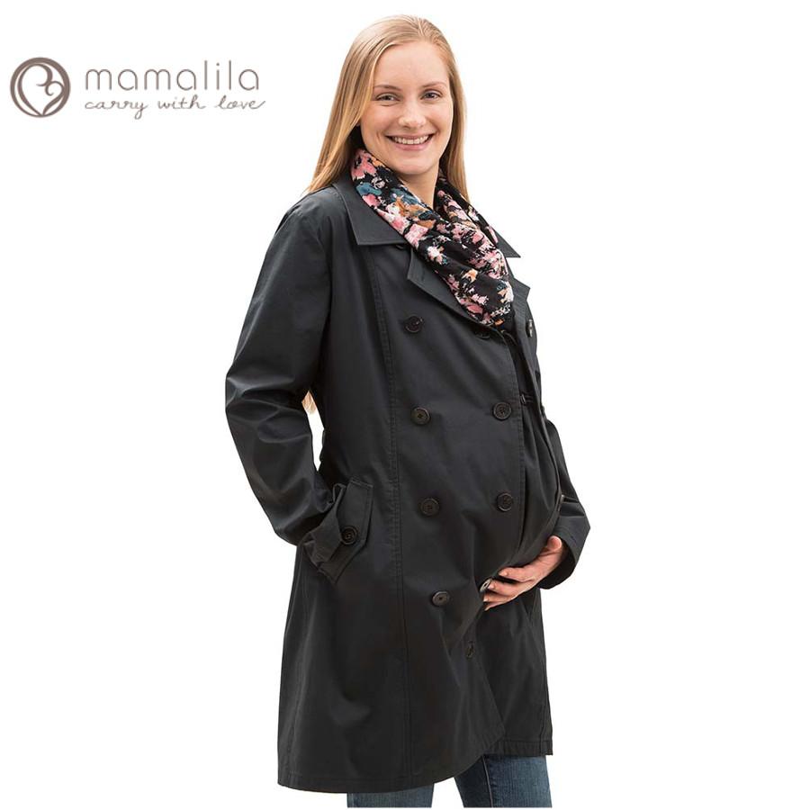 Racine MAMALILA – TRENCHCOAT de grossesse et portage 3 en 1 NOIR-GRIS