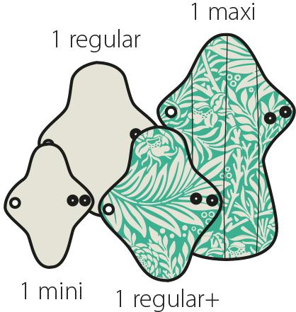 Mam EcoFit, Lunacopine, coussinets d'allaitement et carrés démaquillants MaM ECOFIT 2020 LOT D'ESSAI - Serviettes hygiéniques lavables